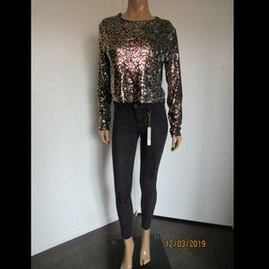 ZARA Animal Print Sequin Embellished Top ~NWT~